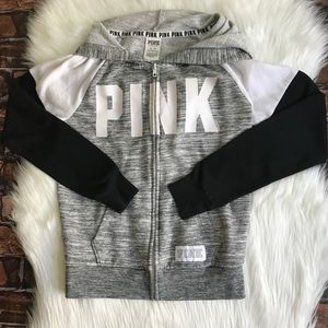 VS PINK Logo Hoodie Gray Black Full Zip Sweatshirt